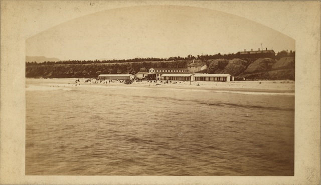 Carleton Watkins (1829–1916), Beach and Bathing House at Santa Monica, ca. 1877.Albumen print,  Ernest Marquez Collection. The Huntington Library, Art Collections, and Botanical Gardens.