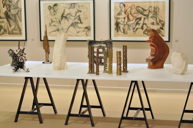 Sculptures and drawings by Lebanese artist Michel Basbous at Beirut's Agial Art Gallery