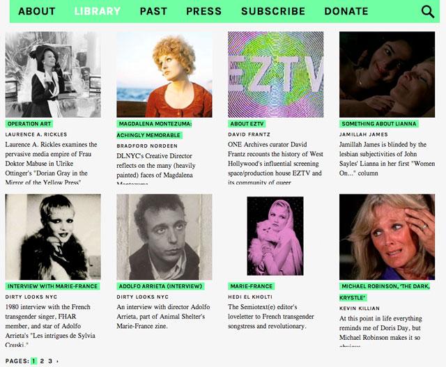 Screenshot of the new Dirty Looks NYC online Library (via dirtylooksnyc.org)