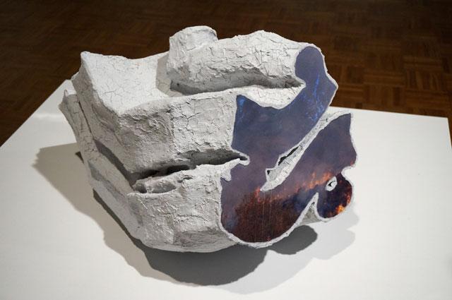"Carol Jackson, ""Pandemonium"" (2013), wood, acrylic, papier mâché, and inkjet print"