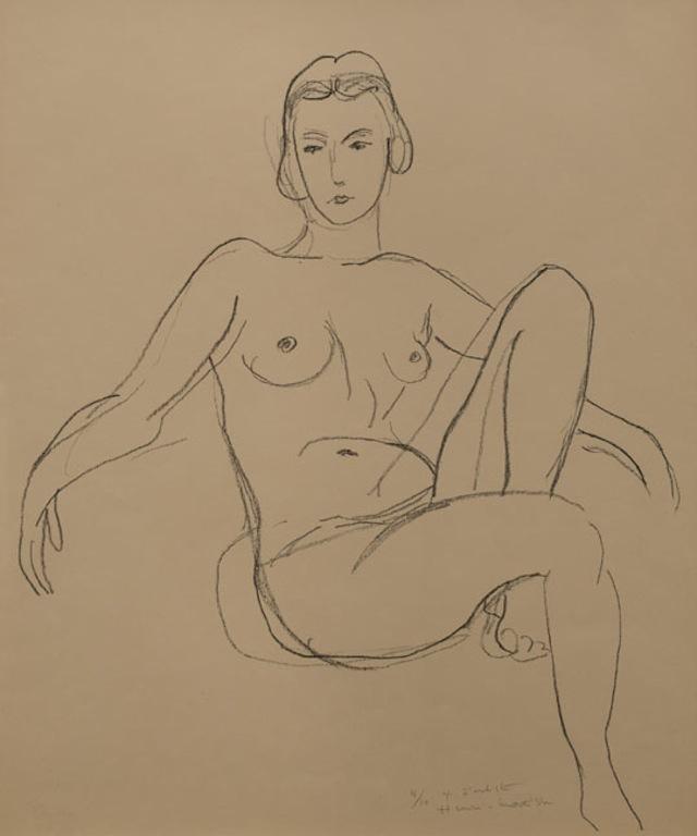 """Henri Matisse, """"Nu assis les bras étendus"""" (1925). Lithograph printed on japon paper."""