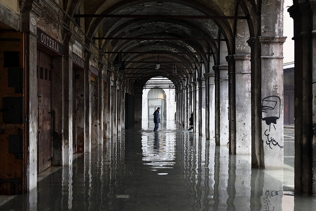 High tide floods Venice, Italy in 2010 (photograph by Roberto Trm, via Flickr)