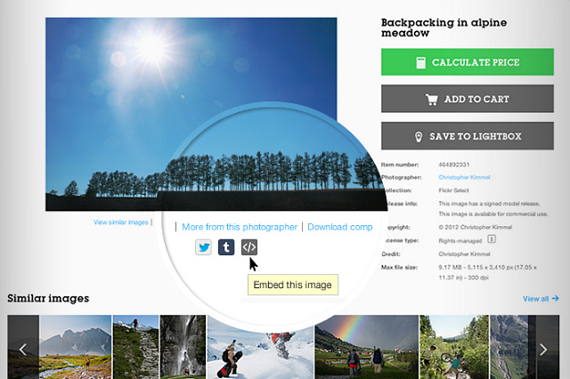 The new Getty image embed feature (courtesy Getty Images)