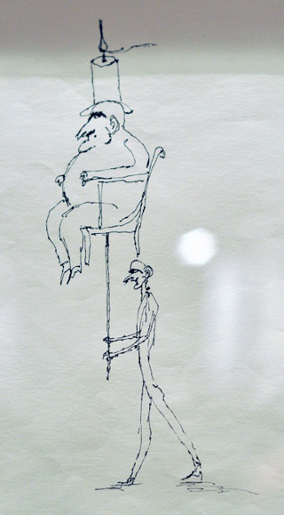A drawing by Ardeshir Mohassess from the 1970s at Shirin Art Gallery.