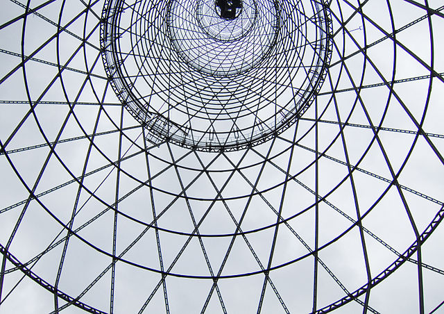 The Shabolovka radio tower in Moscow designed by Vladimir Shukhov (via Wikimedia)