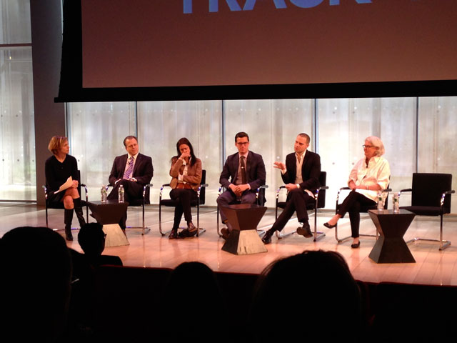 The panel discussion, with, from left to right: moderator Danielle Mattoon, Max Anderson, Julie Taymor, Stephen Bruno, Jordan Roth, and Rebecca Eaton