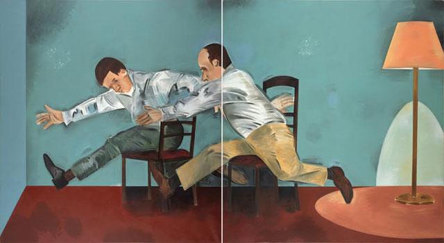 "Apostolos Georgiou, ""Untitled"" (1999), acrylic on canvas, 210 x 380cm"
