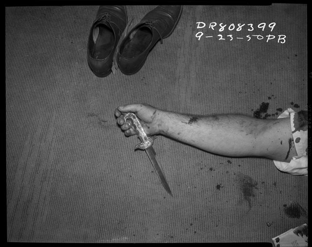 """P.B. (LAPD), """"Shoes, arm and knife, 23 September 1950″ (image courtesy Fototeka) (click to enlarge)"""
