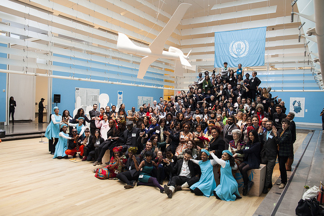 Pedro Reyes: The People's United Nations (pUN) Assembly, November 2013. (Photo by Ramiro Chavez, courtesy Queens Museum)
