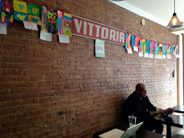 Kids' Jim Dine–inspired artwork at Vittoria cafe in Williamsburg (all photos by the author for Hyperallergic)