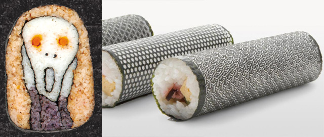Spoon & Tamago is always on top of the latest sushi design trends, so check out (left) Tama-chan's unique sushi rolls and seaweed seller Umino Hiroyuki and the creative agency I&S BBDO have found a way to laser-cut seaweed sheets to create Design Nori. (via Spoon and Tamago)