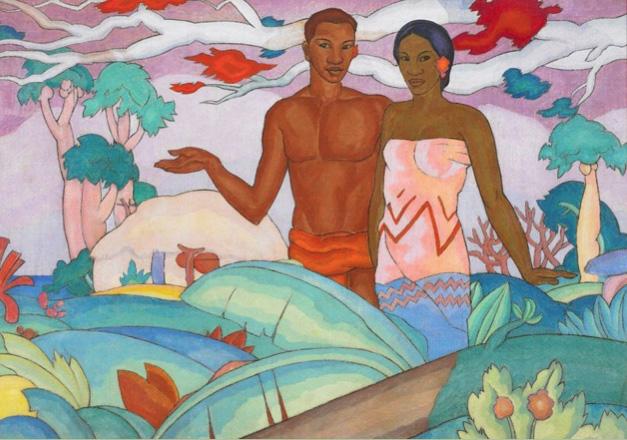 "Arman Manookian, ""Hawaiian Boy and Girl,""1928, Oil on canvas,  Collection of John and Patty Dilks, On long term loan to the Honolulu Academy of Arts(from John Seed's ""Arman Manookian: An Armenian Artist in Hawai'i "")"