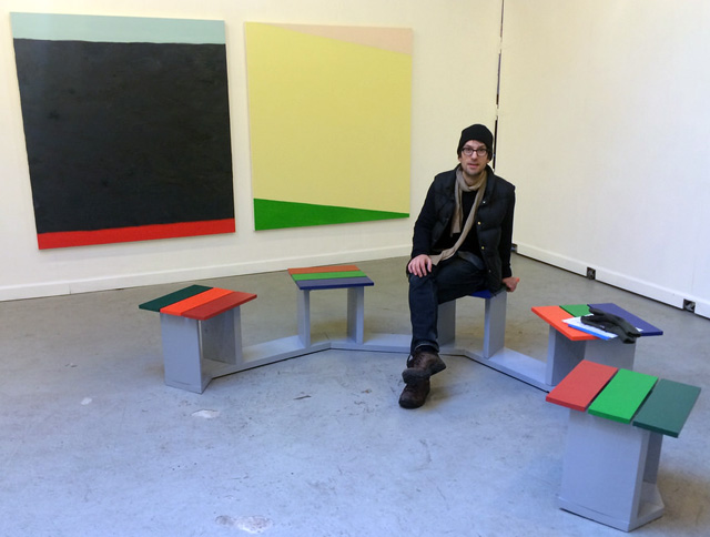 Björn Meyer-Ebrecht sitting on one of his bench art works at Storefront Ten Eyck during his show earlier with year. They were part of a two-person show with O (more photos from the show here).