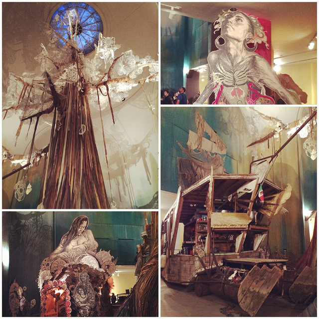 """Various views of Swoon's """"Submerged Motherlands"""" installation at the Brooklyn Museum. (all photos by the author for Hyperallergic)"""