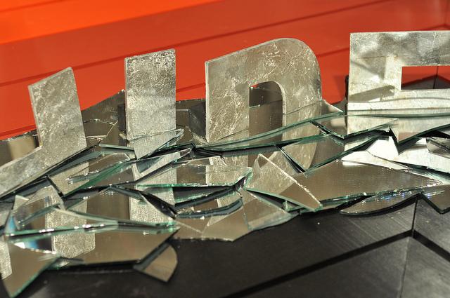 "Detail of Lars Kremer's ""HIDE (broken mirror transient reflective)"" (2014)"