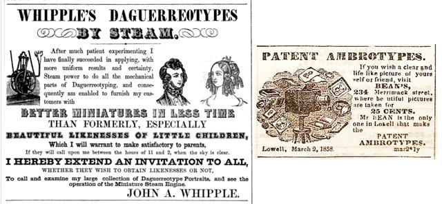 1848 Whipple daguerreotype, image from oldadsarefunny.blogspot.com. On the right isBean1858blog.classyarts.com