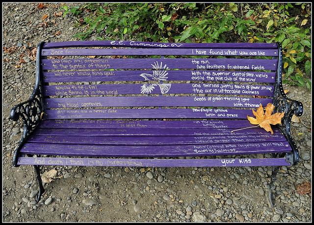 """Tony Fischer, """"ee cummings bench"""" (via Tony Fischer's Flickrstream)"""