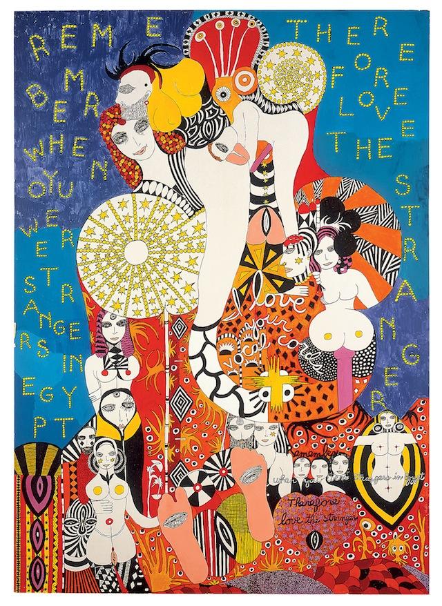 "Dorothy Iannone, ""Love the Stranger"" (1981), 142 x 102.5 cm, Privatsammlung Schweiz, (© Dorothy Iannone, photo by Friedrich Rosenstiel)"