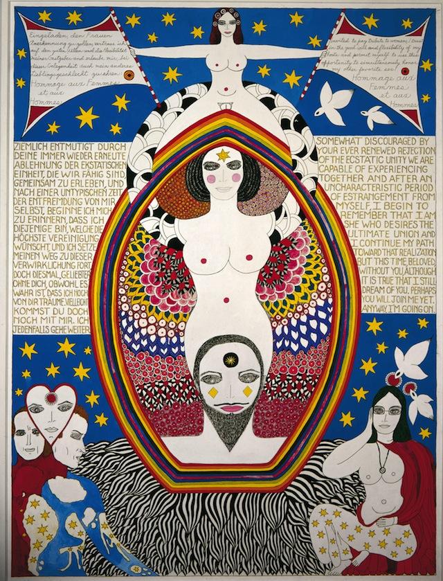 """Dorothy Iannone, """"Hommage Aux Femmes Et Aux Hommes"""" (1983), 160 x 120 cm, Fondazione per l'Arte Moderna e Contemporanea – CRT on loan from Castello di Rivoli Museo d'Arte Contemporanea, Rivoli-Turin, and GAM – Galleria Civica d'Arte Moderna e Contemporanea, Turin, (© Dorothy Iannone, photo by Marc Domage, Paris)"""