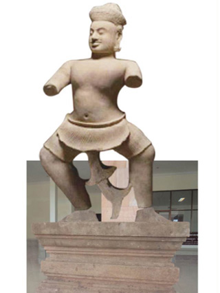 The Duryodhana digitally reunited with its podium, which is at Cambodia's National Museum (image courtesy )