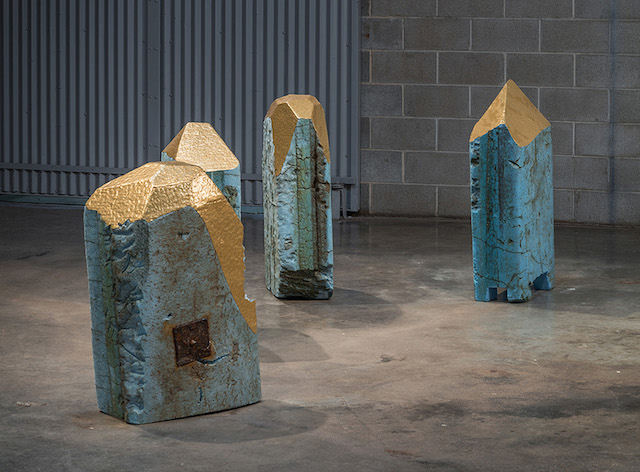 Garry Noland, Failed Monuments (Warm), 2013-14, polystyrene and gold colored tape, dimensions variable. Image courtesy of the artist.