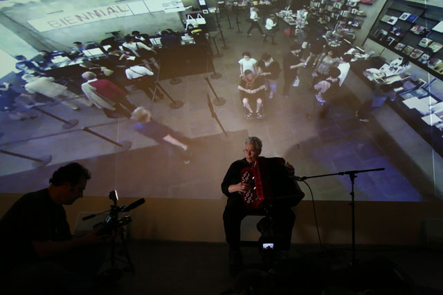 """Pauline Oliveros performing in """"Deep Listening Room"""" (2014) at the 2014 Whitney Biennial, May 25, 2014, Whitney Museum of American Art, New York (photo © Paula Court)"""