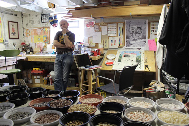 Jim Bachor in his home studio (all photos by the author for Hyperallergic)