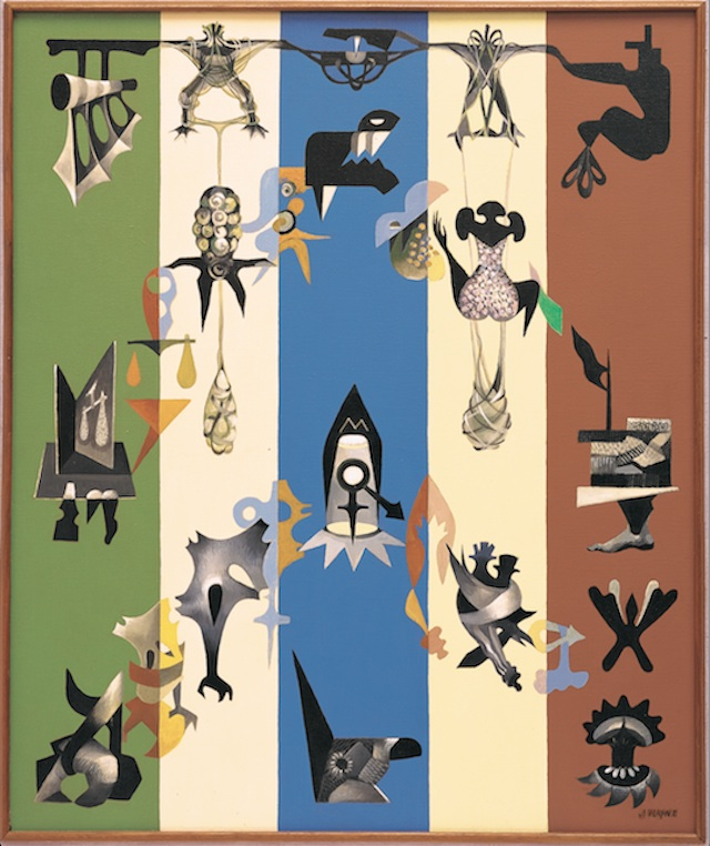 "June Wayne, ""Cryptic Creatures, Kafka Series"" (1948). Oil on canvas."