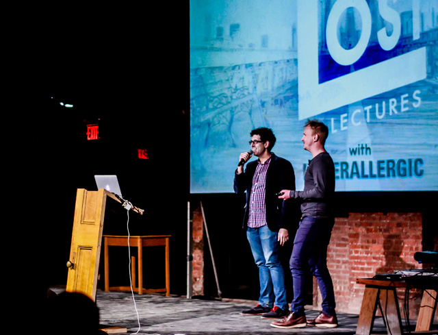 Hyperallergic's Hrag Vartanian and The Lost Lecture's Julian S introducing the evening's program (© Richard Davenport)