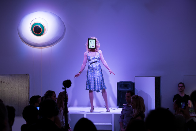 Performance artist Clarina Bezzola at Whitebox Art Center (all photos by