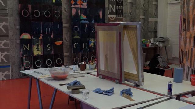 Installation view, Ciara Phillips, 'Workshop (2010–ongoing' at The Showroom (screenshot via Vimeo)