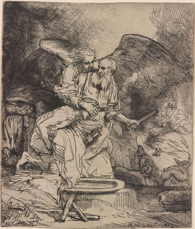 "Rembrandt Harmenszoon van Rijn, ""Abraham's Sacrifice"" (1655), etching, 156 x 131 mm"
