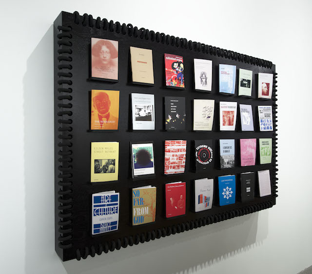 """Detail view of """"Semiotext(e): New Series"""" (2014) by 'Semiotext(e)' at the Whitney Biennial 2014 (collection of 'Semiotext(e),' photo by Bill Orcutt)"""