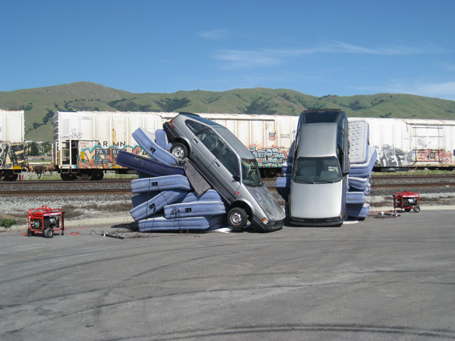 Cars nearly tipped over
