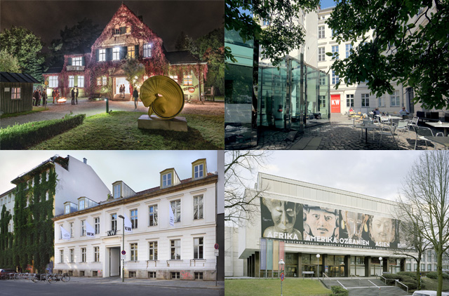Views of the various 8th Berlin Biennale venues, (clockwise from top left) Haus am Waldsee (photo courtesy Haus am Waldsee), KW Institute for Contemporary Art, berlin (photo by Fette Sans 2011), Musee Dahlem (photo Maximilian Meisse), and KW Institute for Contemporary Art (photo Uwe Walter).