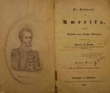Pencil illustration in Francis Grund's 'Die Aristokratie in Amerika' (1839) (courtesy University of Pennsylvania – Van Pelt)