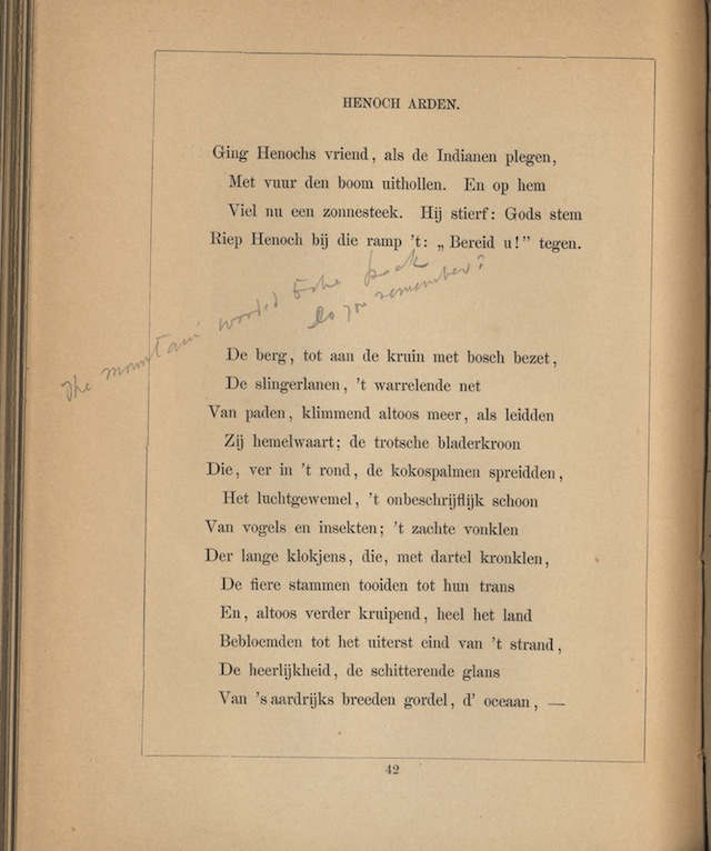 Notation ('Do you remember?') in an 1869 Dutch translation of Lord Tennyson's 'Enoch Arden' (courtesy Alderman Library, University of Virginia)