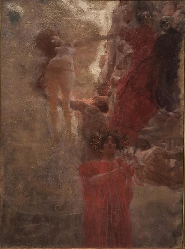 """Gustav Klimt, """"Die Medizin (Kompositionsentwurf)"""" (1897-1898) (courtesy Resnichow Schroeder)"""