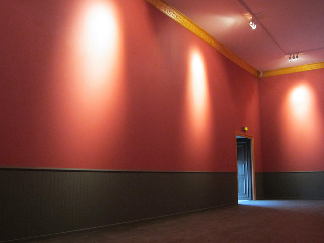 """""""The Empty Museum,"""" with art replaced by light and Bach music"""