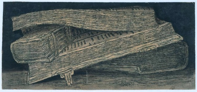 "Hercules Seghers, ""Piles of Books"" (1629-1630), etching (via Rijksmuseum)"