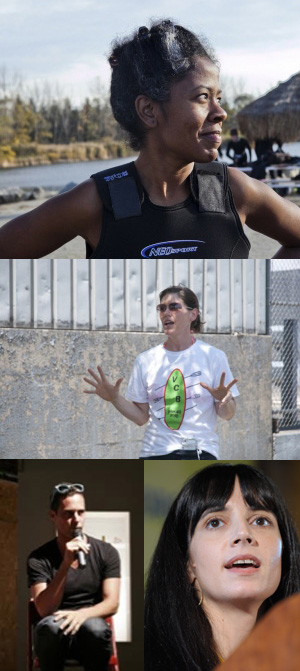 2014/2015 Fellows Torkwase Dyson (top), Nancy Nowacek (middle), and honorary fellows Jason Jones and Beka Economopoulos (bottom) of Not an Alternative (all images courtesy Eyebeam)