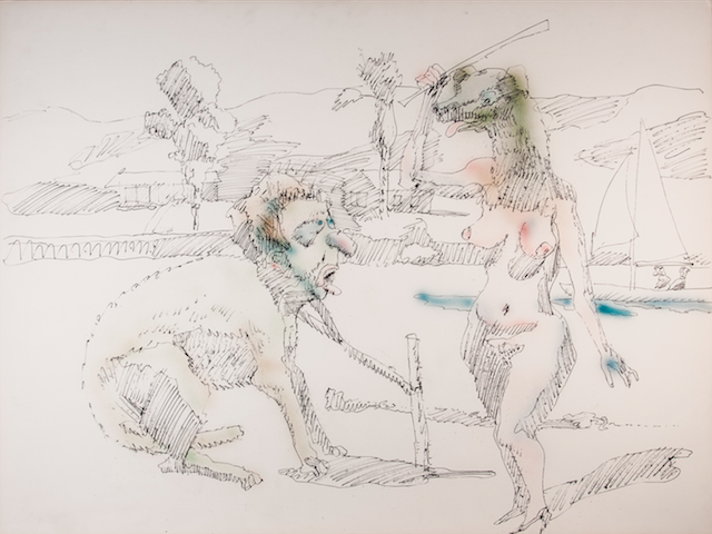 """John Altoon, """"Untitled"""" (1966), ink and watercolor on illustration board (all images © Estate of John Altoon, all photos © 2014 Museum Associates / LACMA)"""