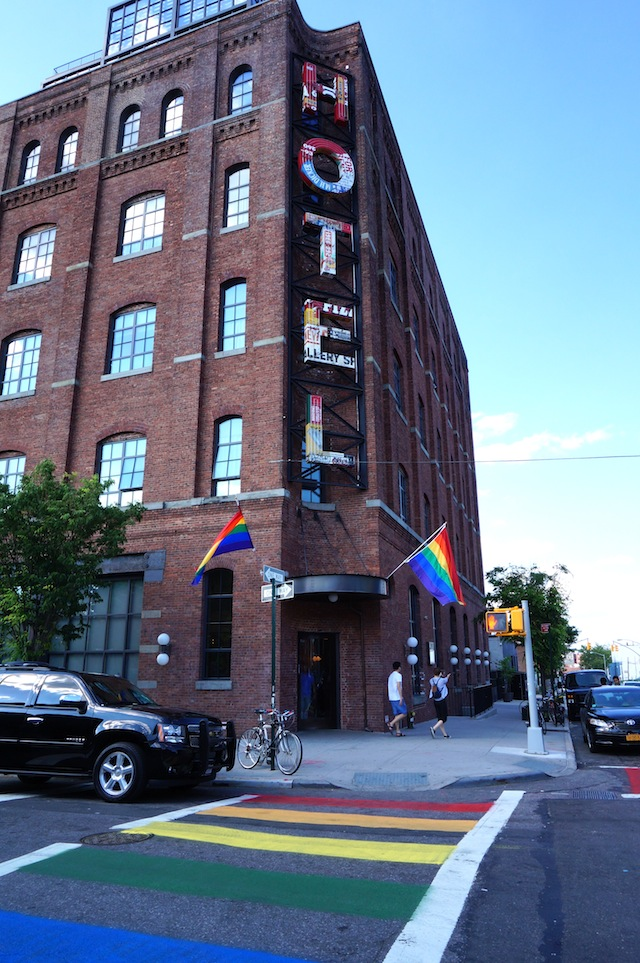 The Wythe Hotel decorated for NYC Pride
