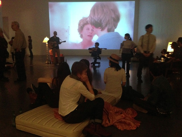 Ragnar Kjartansson, installation view, 'Me, My Mother, My Father, and I' at the New Museum (photo by the author for Hyperallergic)