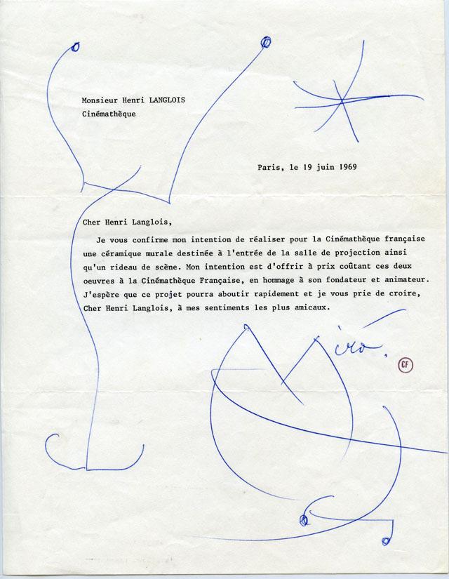 Lettre de Joan Miro to Henri Langlois, 19 juin 1969