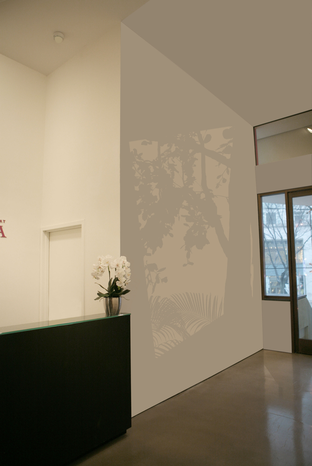 """Mary Temple, preparatory drawing for """"North Wall, South Light, Garden"""" frpm the series""""Light"""" (installations 2002-present), acrylic on existing architecture (courtesy the artist & Mixed Greens, New York)"""