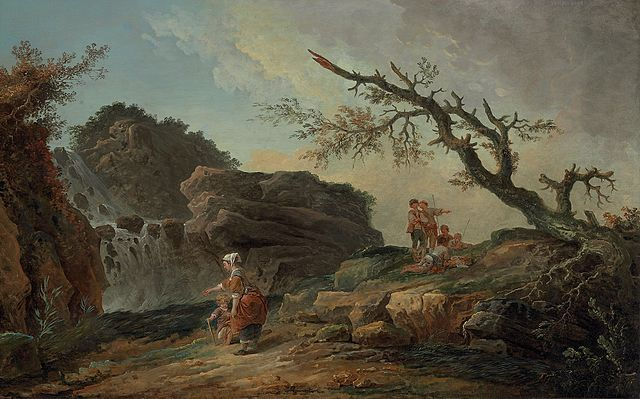 "Hubert Robert, ""La Cascade,"" oil on canvas (via Wikimedia)"
