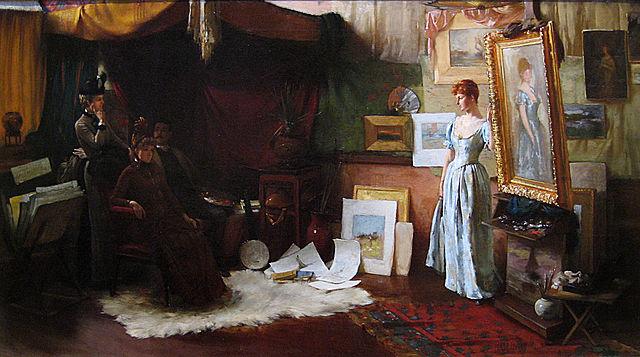 "Charles Courtney Curran, ""Fair Critics"" (1887), oil on canvas (Metropolitan Museum of Art, via Wikimedia)"