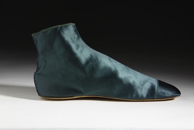 """European, c.1840s. The dark green satin used to make these """"Adelaide"""" boots tested positive for arsenic‐based dye. Their deep colour was just one of the many shades of green that could be produced using arsenic. Collection of the Bata Shoe Museum. Photo credit: Image © 2014 Bata Shoe Museum, Toronto, Canada (photo: Ron Wood)"""