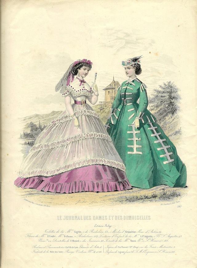 Modeprent met arsenicumjapon (rechts), 1860-1865
